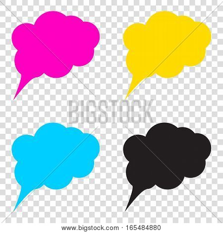 Speach Bubble Sign Illustration. Cmyk Icons On Transparent Backg