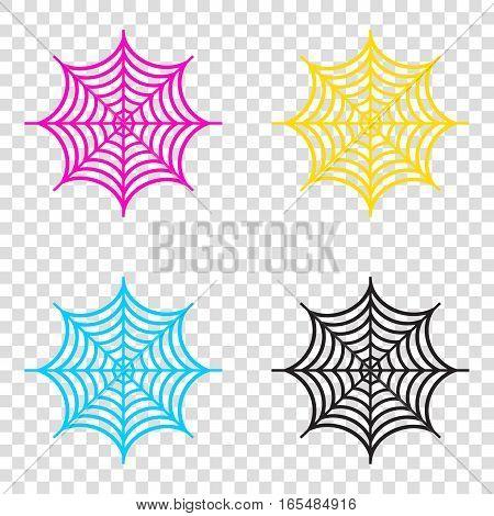 Spider On Web Illustration. Cmyk Icons On Transparent Background