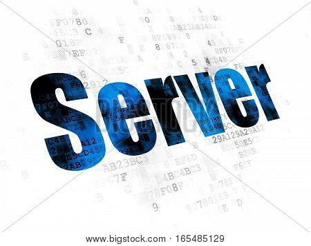 Web design concept: Pixelated blue text Server on Digital background