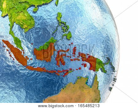 Indonesia In Red On Earth