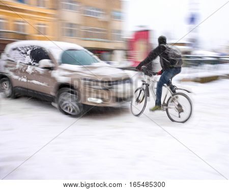 Dangerous City Traffic Situation With Cyclist And Car
