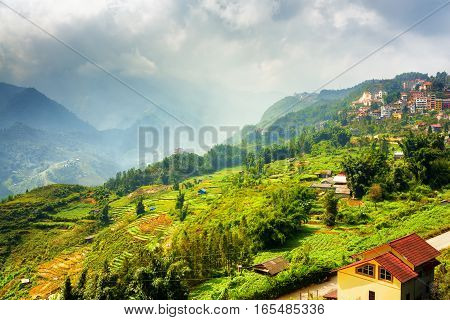Beautiful View Of Rice Terraces And Sapa Town In Vietnam