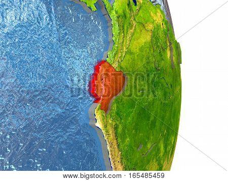 Ecuador In Red On Earth