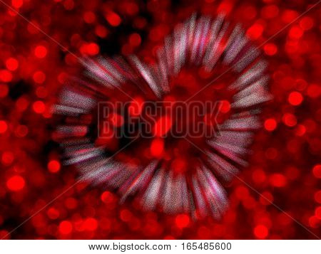 beautiful shiny heart on a brilliant red background