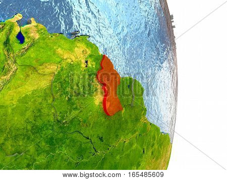 Guyana In Red On Earth
