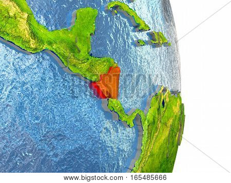 Nicaragua In Red On Earth
