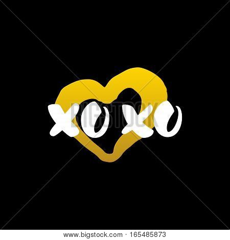 Xoxo Heart Handwritten Calligraphy. Vector Illustration of Lettering Love Design Element.