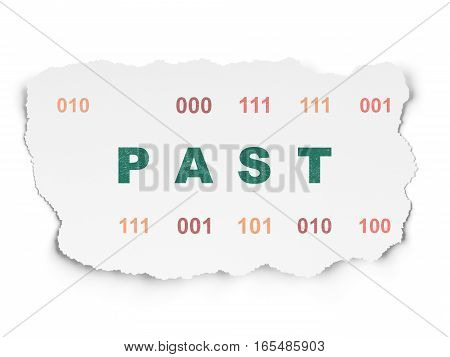 Timeline concept: Painted green text Past on Torn Paper background with  Binary Code