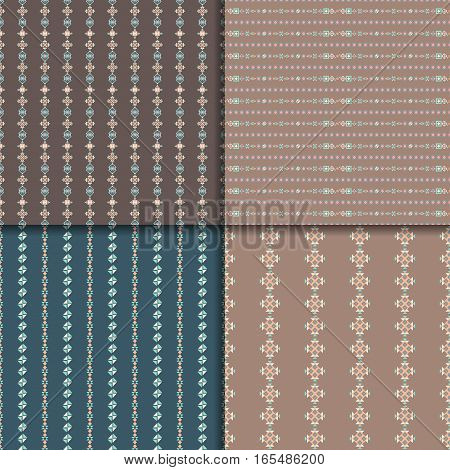 Geometric seamless pattern set. Aztec abstract backgrounds. Ethnic vector ornaments.