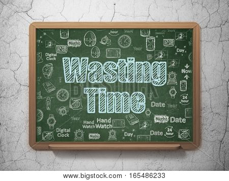 Time concept: Chalk Blue text Wasting Time on School board background with  Hand Drawing Time Icons, 3D Rendering