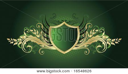 Retro green shield