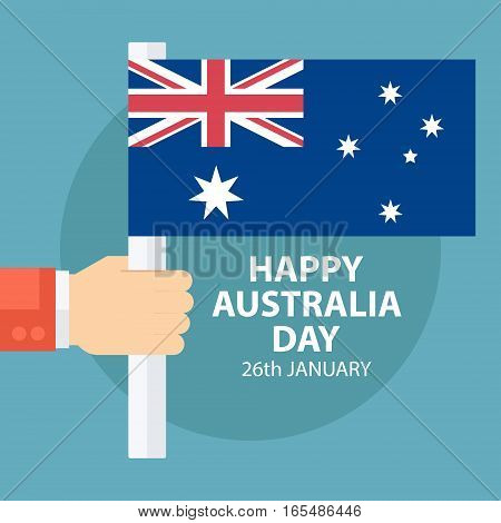Happy Australia Day greeting card with male hand holding australian flag. Vector illustration.