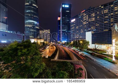 Night View Of Mingzhuta Road In Downtown Of Shanghai, China