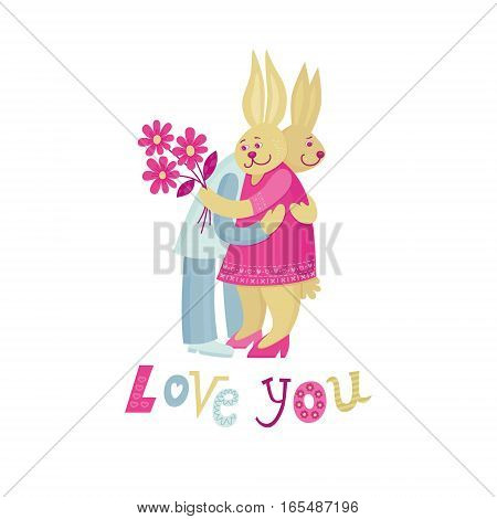 Warm embrace of two bunnies for Saint Valentine's Day. Adorable