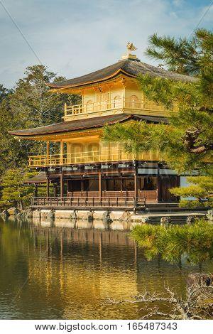 Golden Pavilion At Kinkakuji Temple, Kyoto Japan