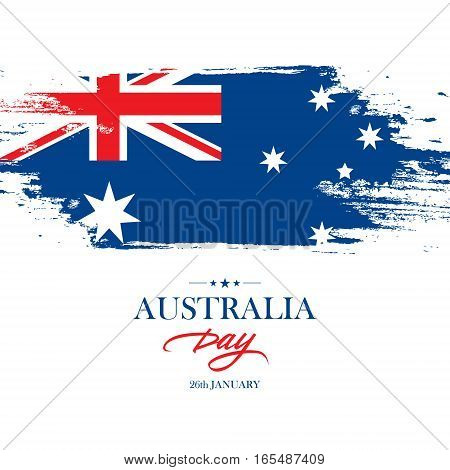 Australia Day Banner with brush stroke background in the colors of the Australian national flag. Vector illustration.