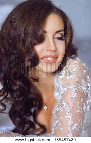 Close Up Portrait Of Beautiful Bride. Morning Of The Bride. Wedding Morning. Brunette Girl With Long