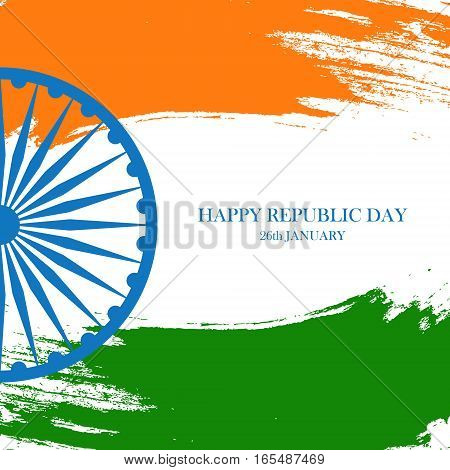Indian Happy Republic Day greeting card with Ashoka wheel and brush strokes in the colors of the Indian national flag. Vector Illustration.