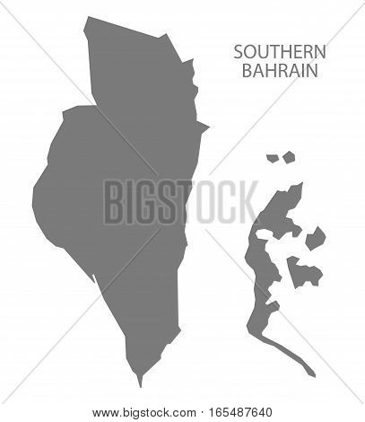 Southern Bahrain Map in grey illustration silhouette