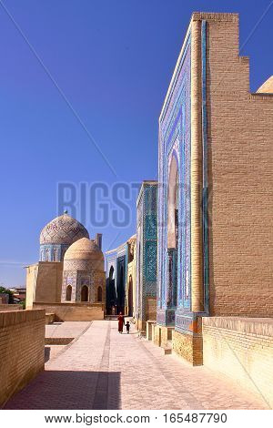 SAMARKAND, UZBEKISTAN: The Shah-i-Zinda with colorful architecture