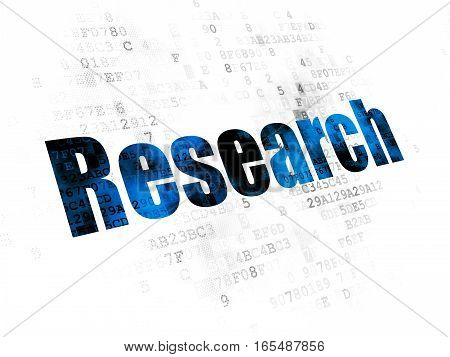Advertising concept: Pixelated blue text Research on Digital background