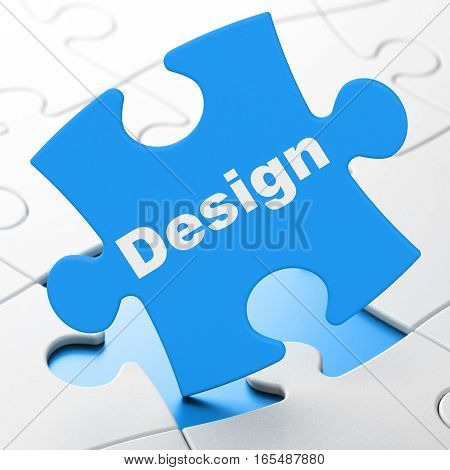 Advertising concept: Design on Blue puzzle pieces background, 3D rendering