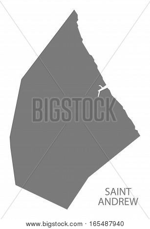 Saint Andrew Barbados Map in grey illustration silhouette