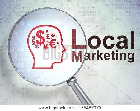 Advertising concept: magnifying optical glass with Head With Finance Symbol icon and Local Marketing word on digital background, 3D rendering