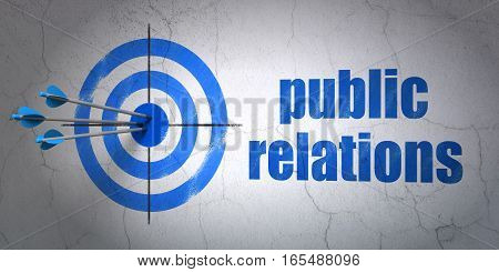 Success advertising concept: arrows hitting the center of target, Blue Public Relations on wall background, 3D rendering