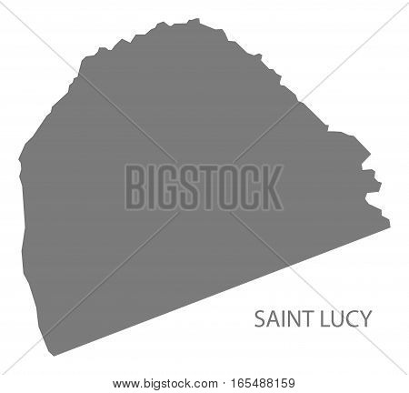 Saint Lucy Barbados Map in grey illustration silhouette