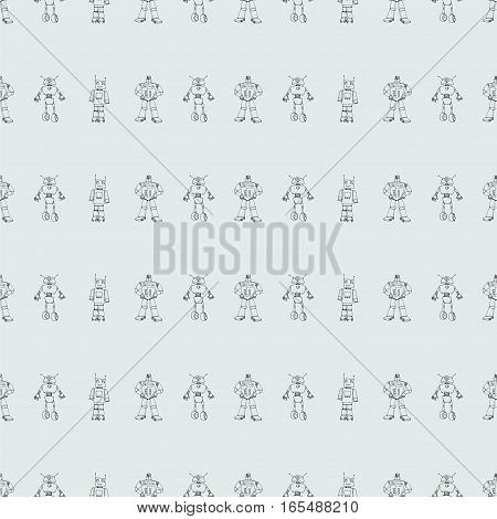 Seamless robot doodle pattern. The concept of science and the future. Cartoon style. Hand-drawn illustration.
