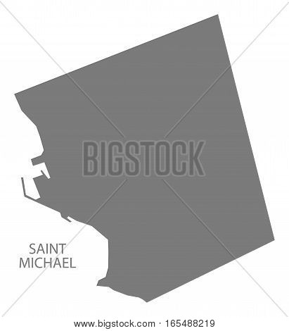 Saint Michael Barbados Map in grey illustration silhouette