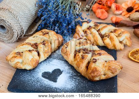 marple and pecan plait pastry sweet food breakfast with heart sign and lavender flowers