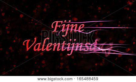 "Happy Valentine's Day Text In Dutch ""fijne Valentijnsdag"" Turns To Dust From Right On Dark Backgroun"