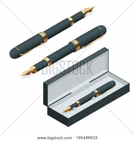 Elegant gold plated business fountain pen isolated on white background. Flat 3d vector isometric illustration.