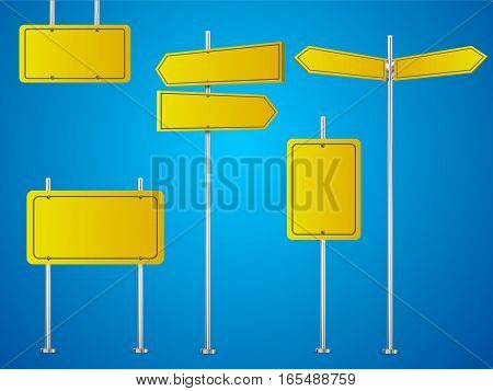 Set of blank road signs isolated on blue background. Vector illustration.