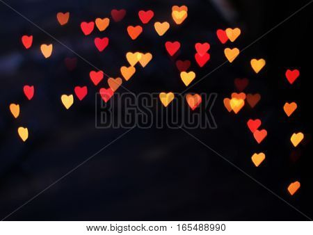 red and yellow heart bokeh background on Valentine's day