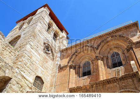 Entrance to the Church of the Holy Sepulchre. Patio and the main facade. Jerusalem Israel.