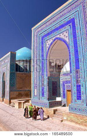 SAMARKAND, UZBEKISTAN - MAY 20, 2011: The Shah-i-Zinda with colorful architecture