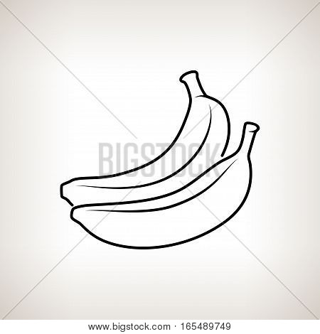 Banana, Image Banana in the Contours on a Light Background, Black and White Illustration