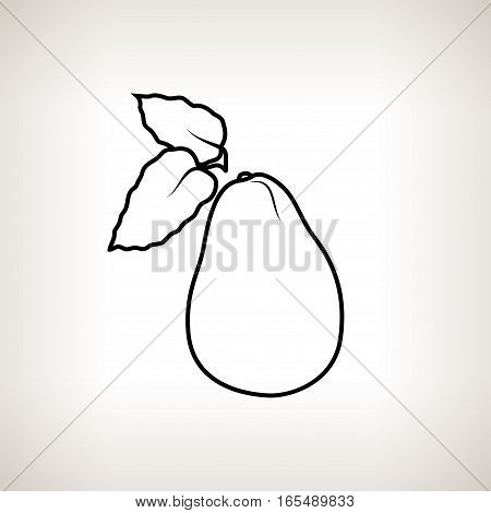 Avocado, Image Avocado in the Contours on a Light Background, Black and White Illustration