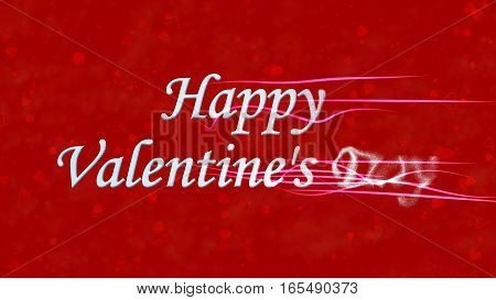 Happy Valentine's Day Text Turns To Dust From Right On Red Background