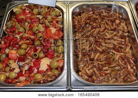 Assortment Of Vegetables Preserved In Oil