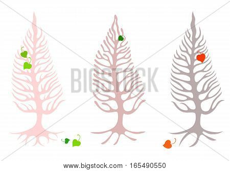 Three trees with roots and skeletal branches with leaves in the shape of hearts. On a white background