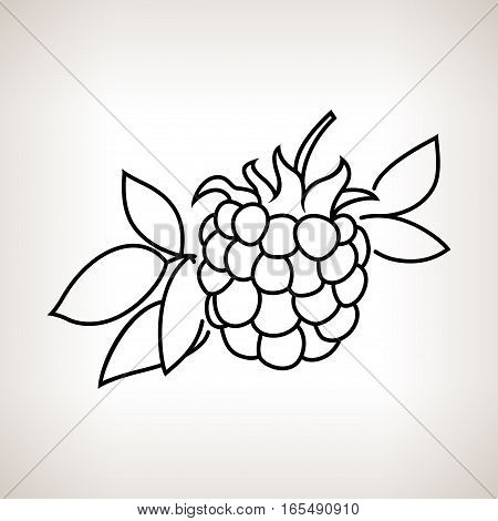 Blackberry ,Image Dewberry in the Contours on a Light Background ,Black and White Illustration