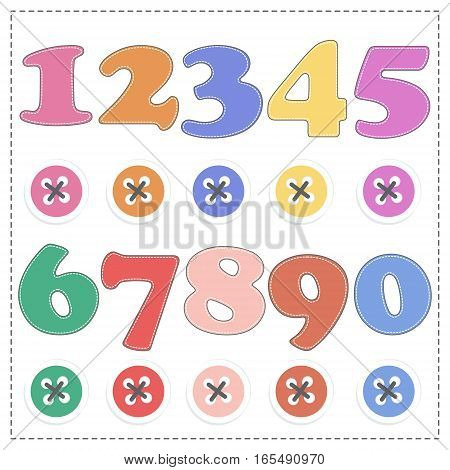 The numbers from 1 to 9 plush mathematics. Vector cartoon