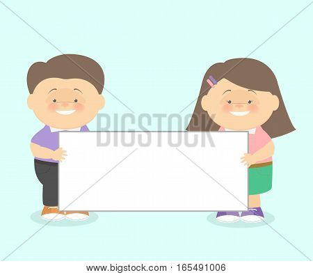 The boy with the girl together hold informational poster. Vector cartoon