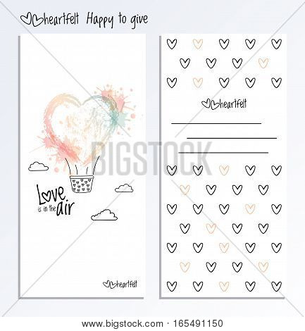 Valentines Day two side card. Valentine Day vector greeting post card with heart and place for a congratulation.