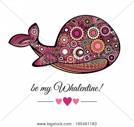 Be my Valentine greeting card template. The pink Whale and lettering with hearts isolated on white background. Vector illustration