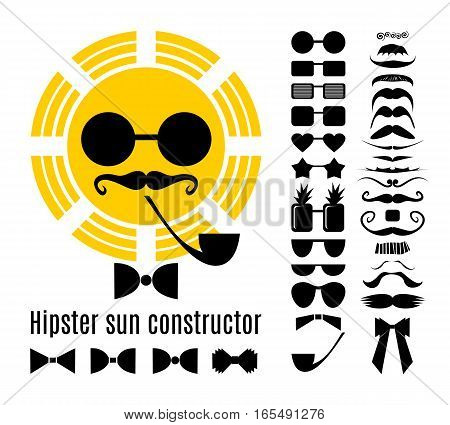 Hipster style infographic elements and icons set for retro sun design. Hipster sun constructor with collection of  mustaches, glasses, bow ties and a pipe. Set for summer design. Vector illustration
